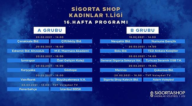Sigorta Shop Kadınlar 1. Ligi'nde 16. Hafta Başlıyor